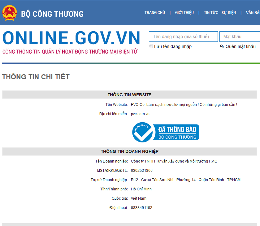Thong bao website TMDT ban hang