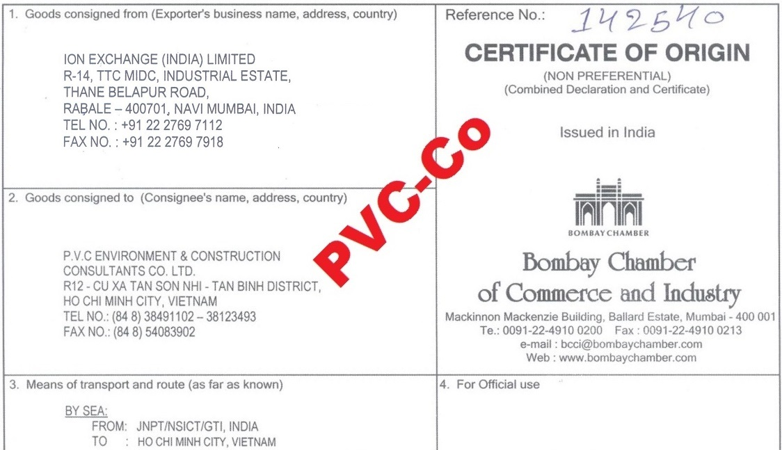 PVC-Co & Ion Exchange (India) Indion CO